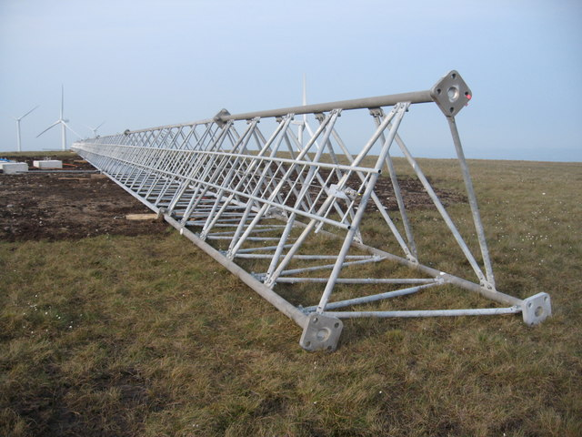 Met Mast under construction on Scout Moor