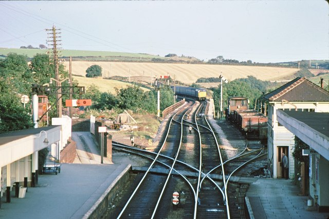 Liskeard station junction and Liskeard viaduct 1979