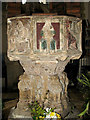 TG4010 : St Edmund's church - baptismal font by Evelyn Simak