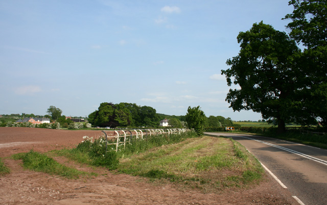 Bend in the A534 east of Bulkeley