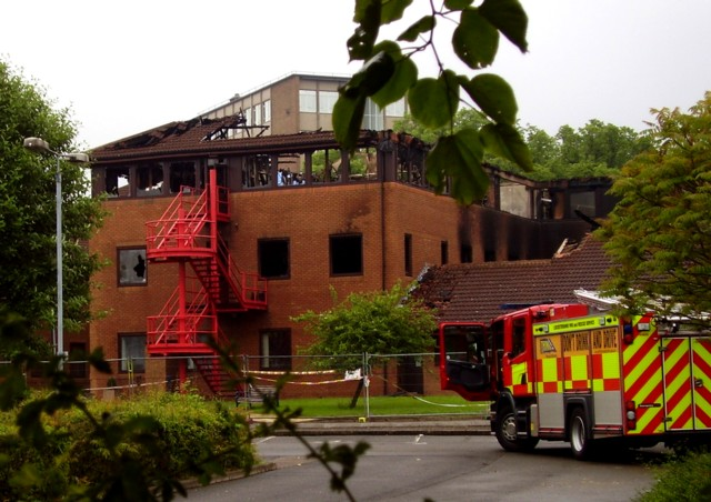 Melton Borough Council offices from the rear after the fire