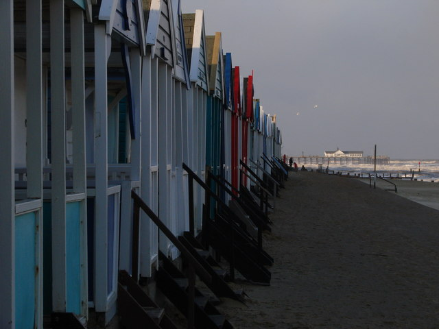 Southwold beach huts in spring