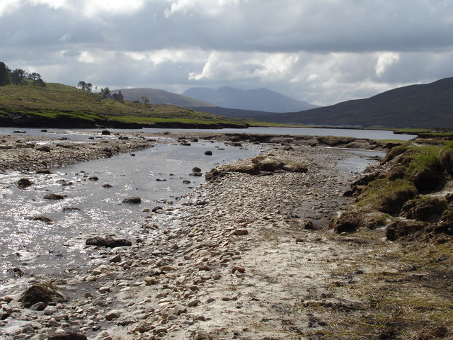 The Abhainn Nid running into the NW end of Loch Fannich