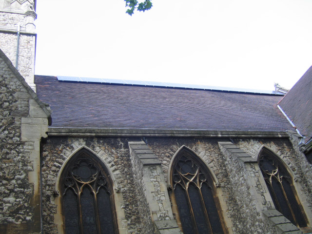Photovoltaic panels, St Peter's church