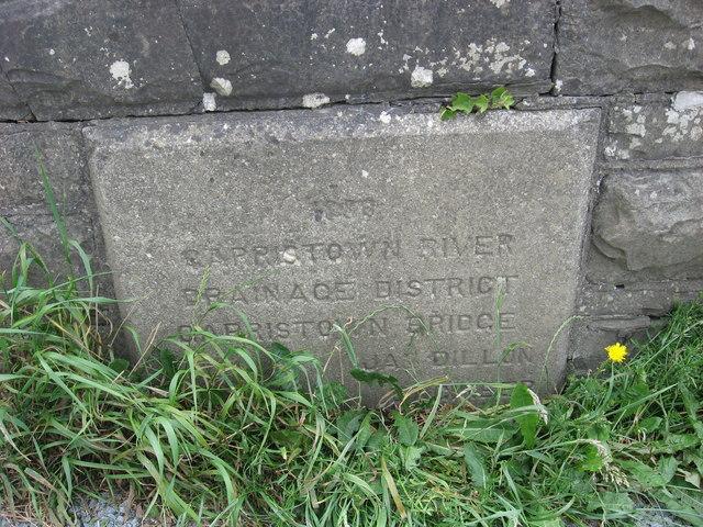Plaque on Garristown Bridge