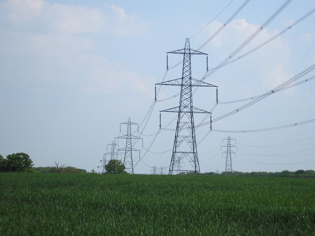 A pair of electricity transmission towers