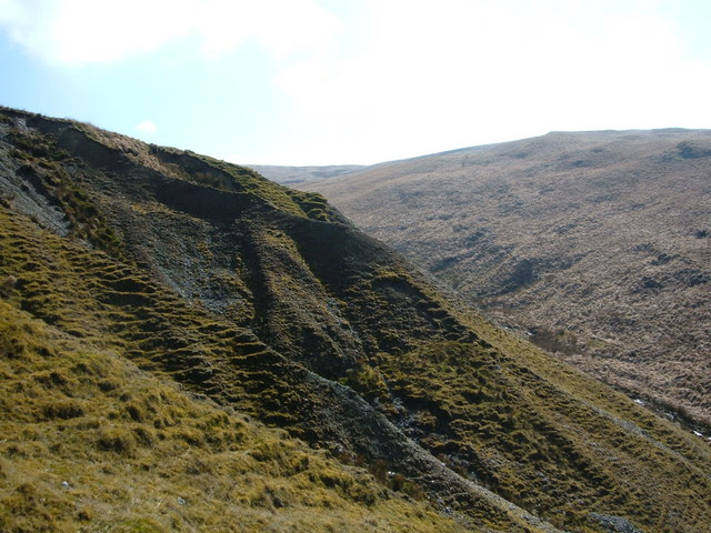 Climbing a hillside out of the Nant yr Iau Gorge