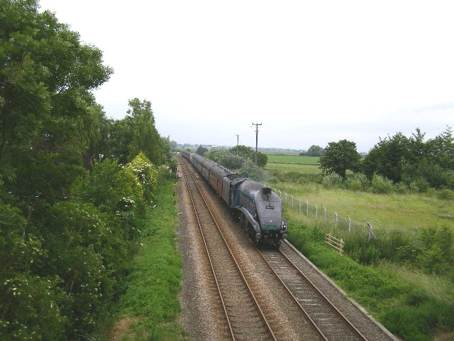 """Sir Nigel Gresley"" passing under Pinchbeck Bridge"