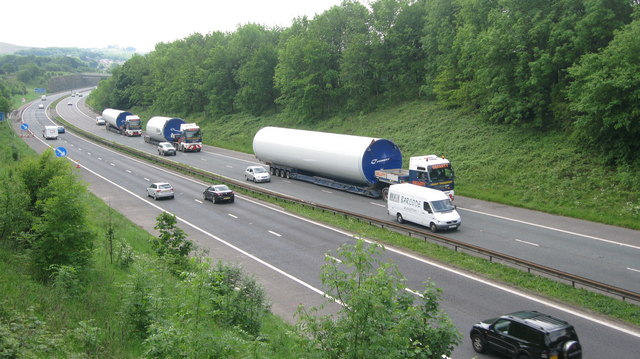 Last Turbine Tower Delivery on the M66