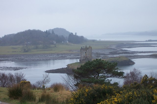 Castle Stalker and coastal inlets in the mist