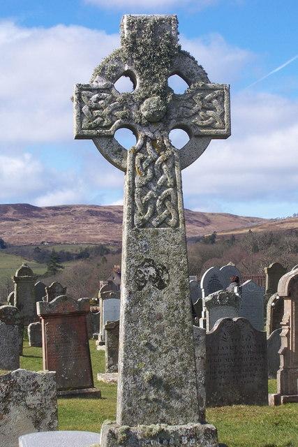 Old Celtic Cross in Kilbrannan Chapel Graveyard, Skipness