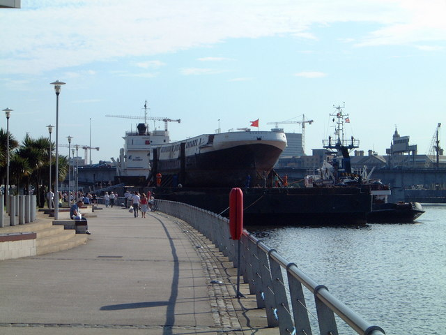 SS Nomadic returns to Belfast on a barge, July 2006