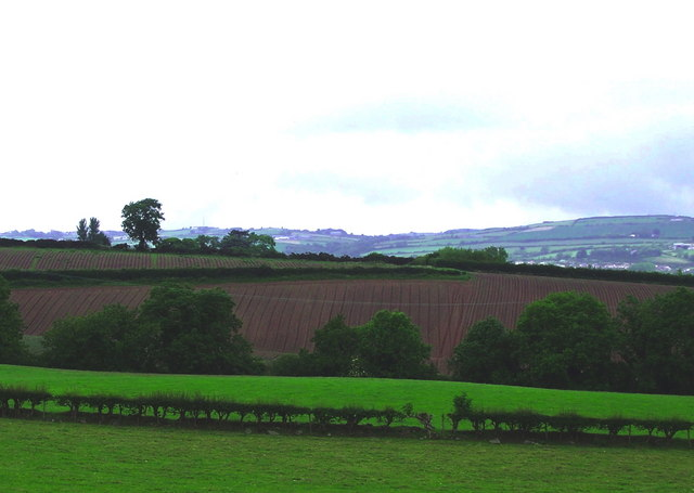 Ploughed fields on gently sloping hills at Peartree Hill