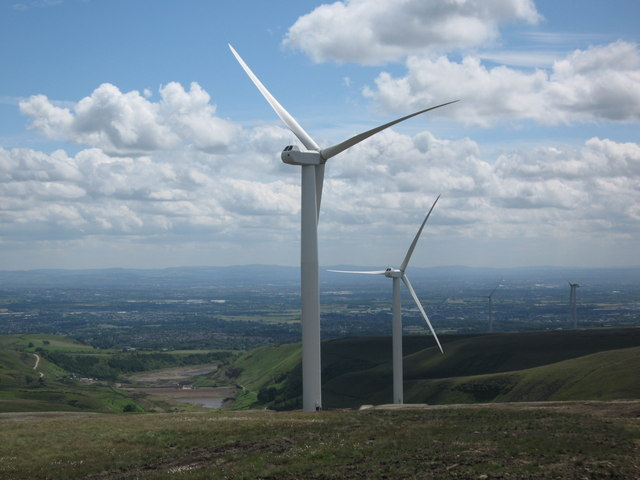 Turbine Towers 19 and 18 under test on Scout Moor