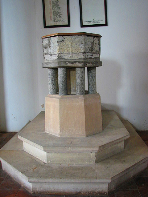 The church of SS Peter & Paul - C13 baptismal font