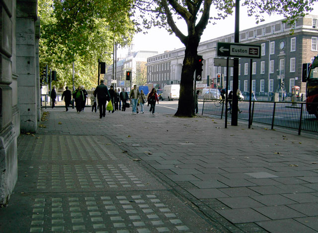 Pavement on the north side of Euston Road NW1
