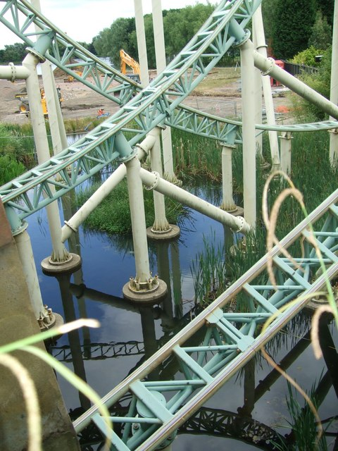 Thorpe Park. The ironmongery is part of the 'Colossus' ride.
