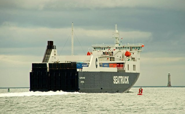 "The ""Clipper Point"" passing Greenore"