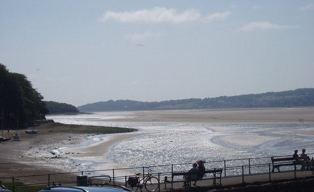 The Kent Estuary at low tide looking across to Grange Over Sands