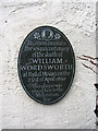 Photo of William Wordsworth grey plaque