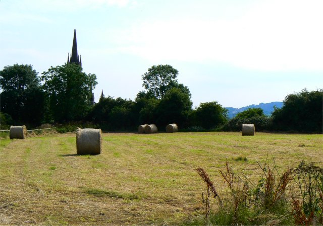 Hay bales by the village church