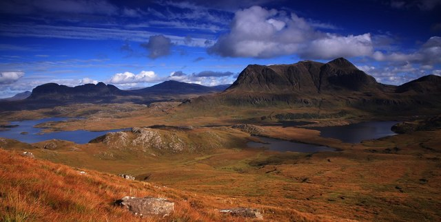 Cul Mor, Suilven & Canisp from N.E. of Stac Pollaidh. From Exploring Scotland's North Coast 500