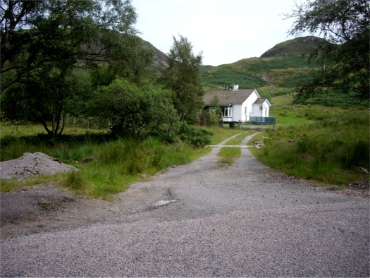 Track to roadside cottage near Loch Buine Moir