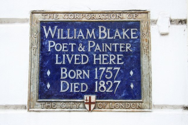William Blake blue plaque - William Blake poet & painter lived here born 1757 died 1827