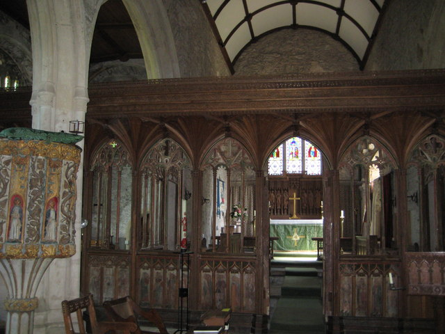 Rood screen & wine glass pulpit in St George's Church Dittisham