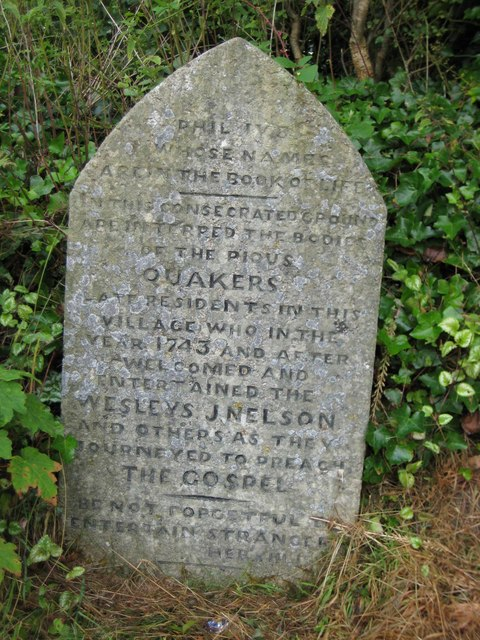 Commemoration stone for Sticklepath Quaker burial ground