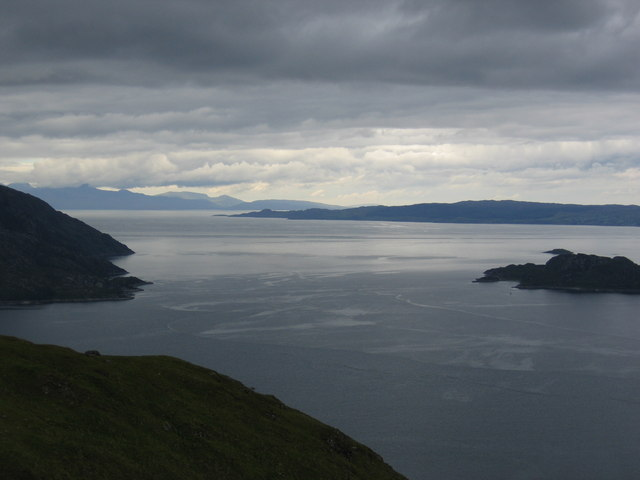 View looking West towards Skye from Knoydart. Taken from North - West slopes of A' Chruach