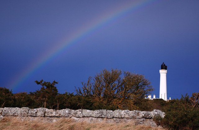 Lighthouse, Lossiemouth & rainbow.