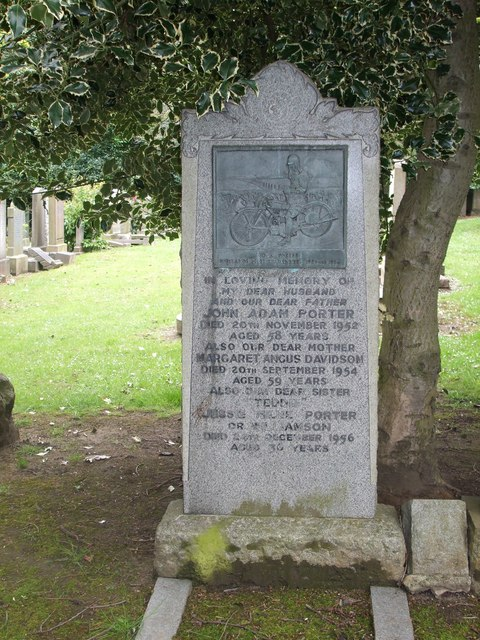 Grave of Jock Porter, Scotland's first TT winner