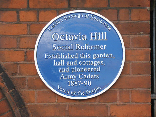 Octavia Hill blue plaque - Octavia Hill social reformer established this garden, hall and cottages, and pioneered Army Cadets 1887-90