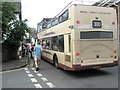SS8846 : Open topped bus squeezing through Porlock High Street by Basher Eyre