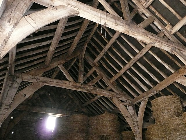 Inside the Tudor barn at Gunthwaite Hall