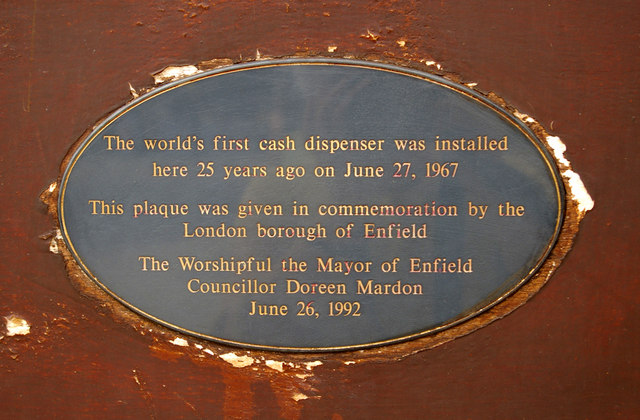 Grey plaque № 2937 - The world's first cash dispenser was installed  here 25 years ago on June 27, 1967