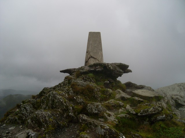 Trig point at the Ben Lawers summit