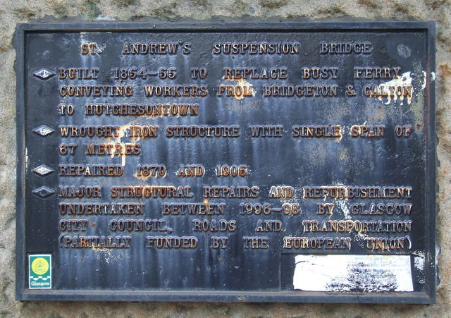 Suspension bridge plaque