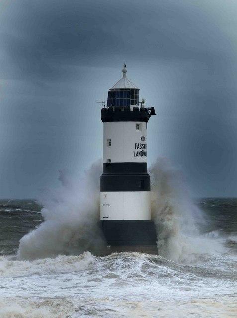 Trwyn Du Lighthouse In Stormy Seas Steve Fareham Cc By