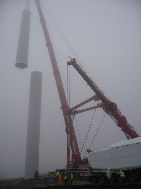 Turbine No 16 under construction on Scout Moor