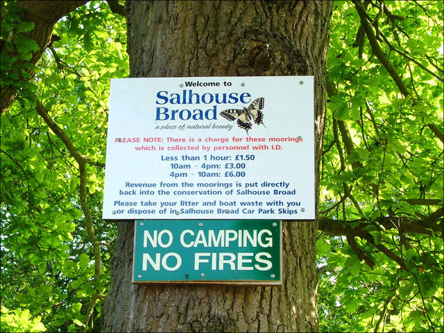 Salhouse Broad info board about moorings