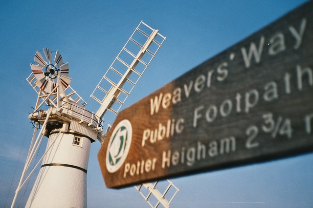 Thurne Mill and Weavers' Way signpost