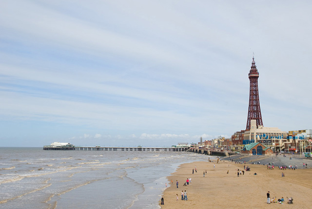 Blackpool Tower and North Pier from Central Pier