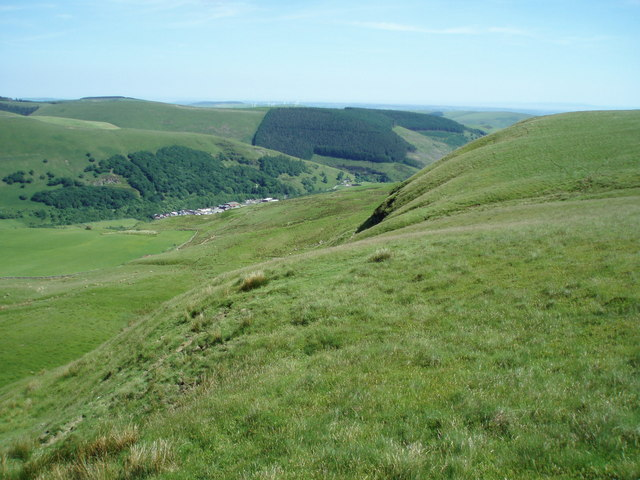 Scarp slope on the east side of Mynydd Llangeinwyr