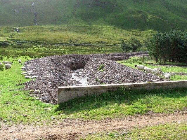 Killilan/Iron Lodge track, rebuilt banks of mountain stream