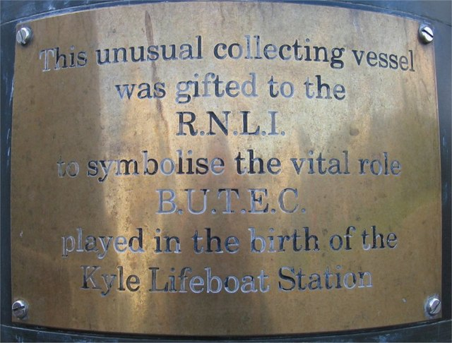Money collecting vessel outside RNLI Kyle of Lochalsh Station - Detail of Plaque
