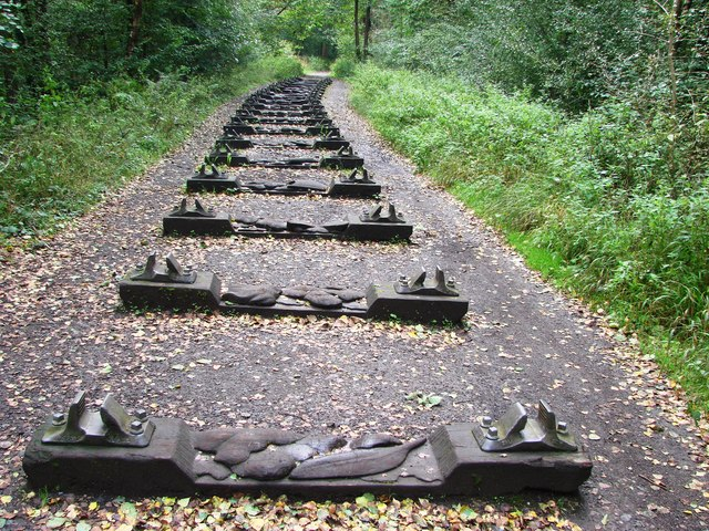Carved sleepers on the Sculpture Trail,  Forest of Dean