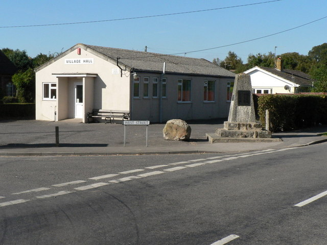 Winterborne Kingston: village hall and war memorial