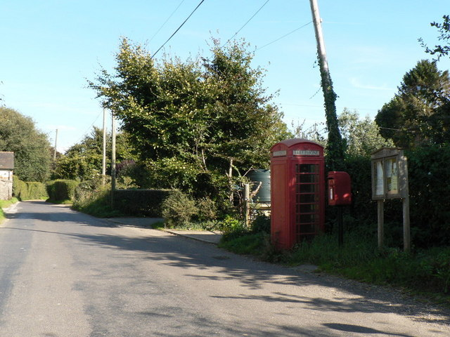 Anderson: postbox № DT11 122, phone and noticeboard